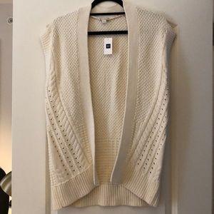 Gap Cream Sleeveless Open Front Sweater XS/S NWT